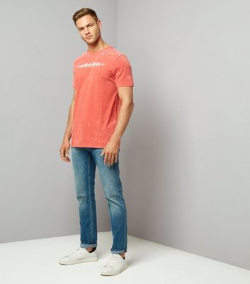 Orange Acid Wash Text Front T-Shirt New Look