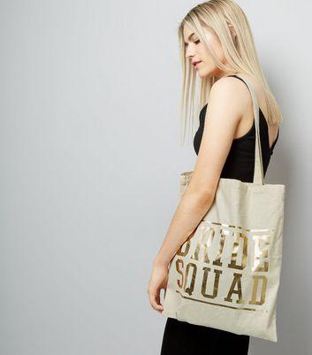 Gold Bride Squad Print Canvas Bag New Look