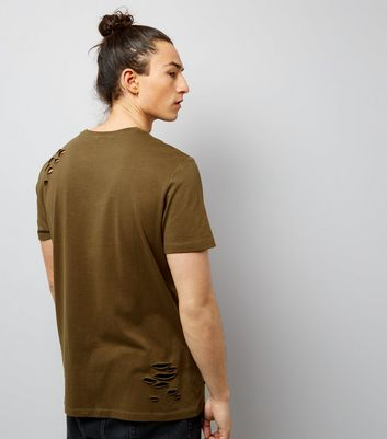 Khaki Ripped Future Of The World Print T-Shirt New Look