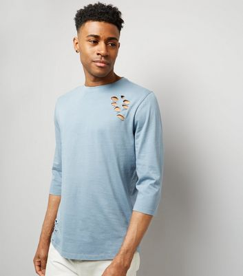 Pale Blue Ripped 3/4 Sleeve T-Shirt New Look