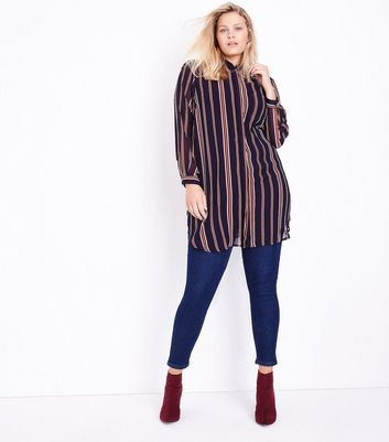 Curves Blue Stripe Longline Chiffon Shirt New Look