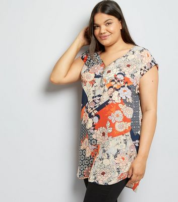 Curves Blue Floral Longline Zip Front Tunic Top New Look