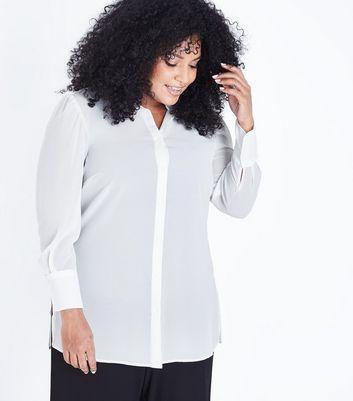 Curves White Chiffon Longline Shirt New Look