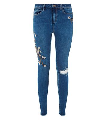 Blue Floral Embroidered Ripped Skinny Jenna Jeans New Look