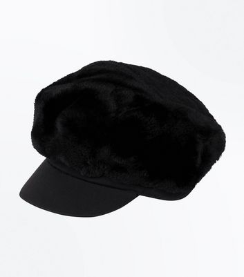 Black Faux Fur Baker Boy Hat New Look