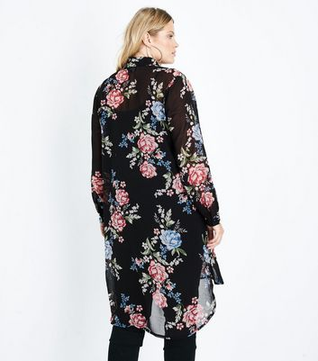 Curves Black Floral Print Chiffon Longline Shirt New Look