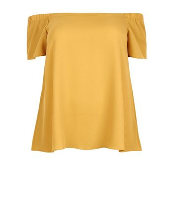 Curves Yellow Crepe Bardot Neck Top New Look
