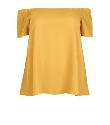 Curves Yellow Crepe Bardot Neck Top New Look