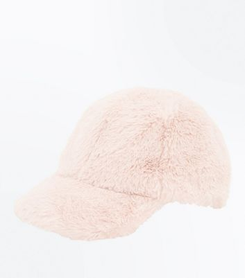 Pink Faux Fur Baseball Cap New Look