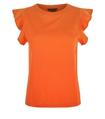 Orange Frill Sleeve Cotton T-Shirt New Look