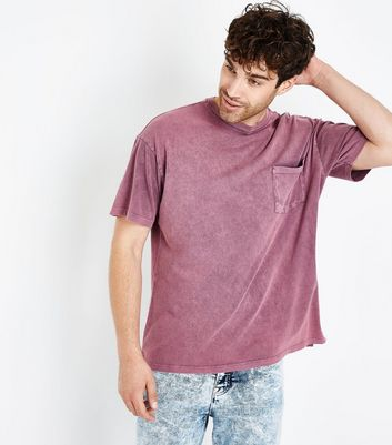 Pink Acid Wash Front Pocket T-Shirt New Look