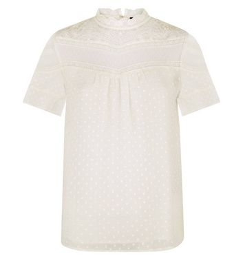 Tall Cream Scallop Lace Textured Top New Look