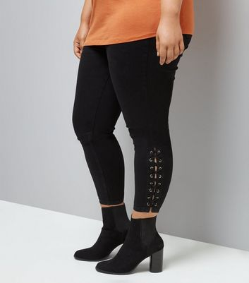 Curves Black Lace Up Hem Jeggings New Look