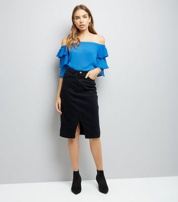 Tall Blue Tiered Sleeve Bardot Neck Top New Look