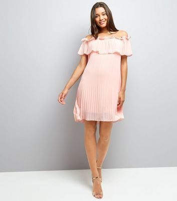 Cameo Rose Shell Pink Bardot Neck Dress New Look