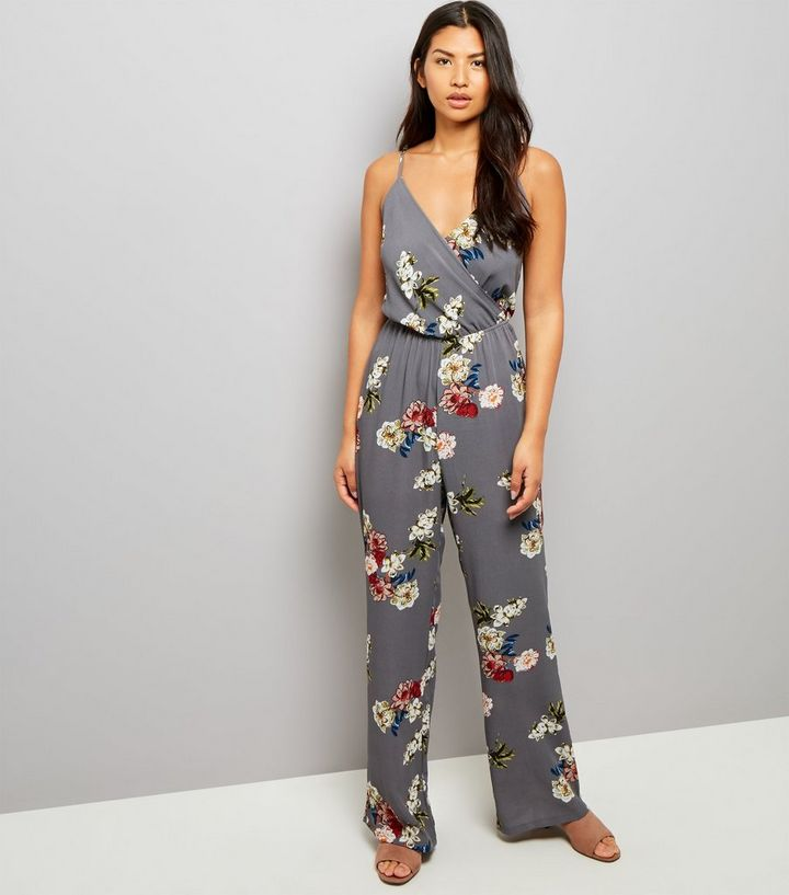 c513485105 Tall Grey Floral Print Wrap Neck Jumpsuit