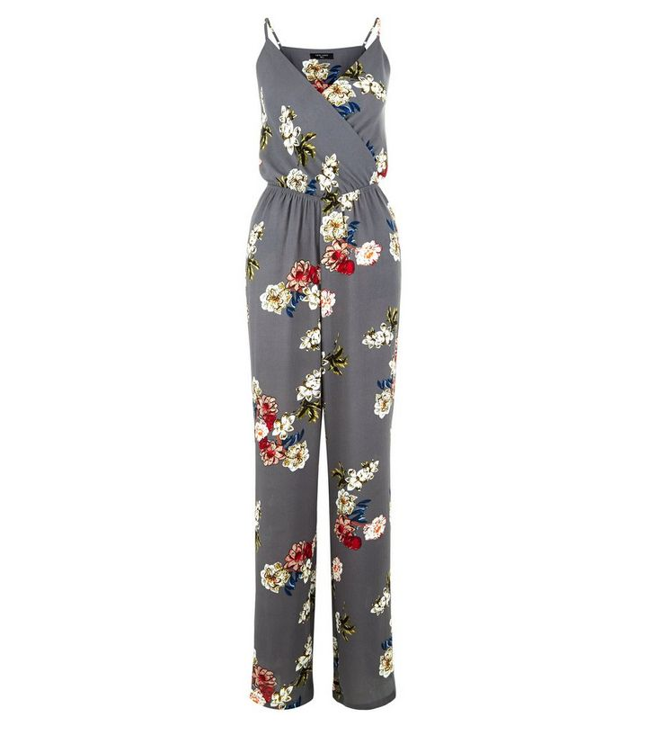 0b93f579d4 Home · Womens · Clothing · Jumpsuits   Playsuits · Tall Grey Floral Print  Wrap Neck Jumpsuit. ×. ×. ×. Shop the look