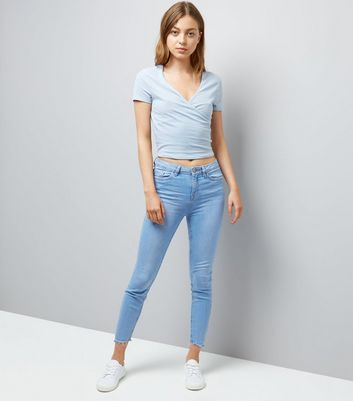 Pale Blue Ribbed V Neck Wrap Front T-Shirt New Look