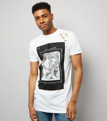 White Ripped Marble Print Longline T-Shirt New Look