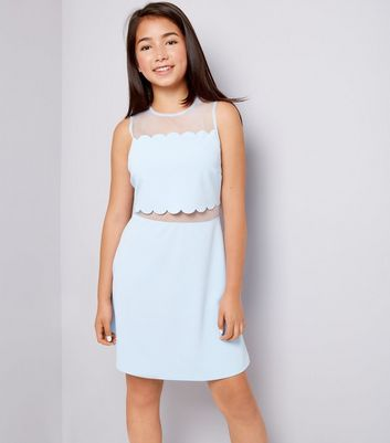 Teens Pale Blue Scallop Mesh Dress New Look