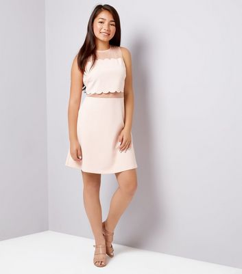 Teens Pink Scallop Mesh Dress New Look