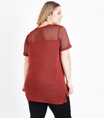 Curves Rust Fishnet Yoke T-Shirt New Look