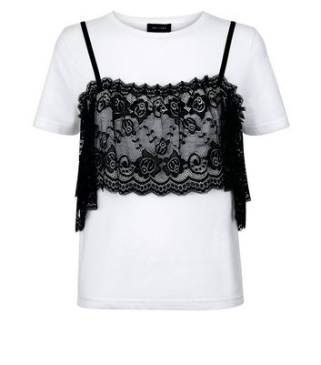 White Lace Bralet T-Shirt New Look