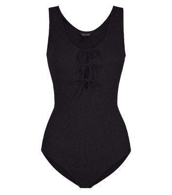 Black Tie Front Bodysuit New Look