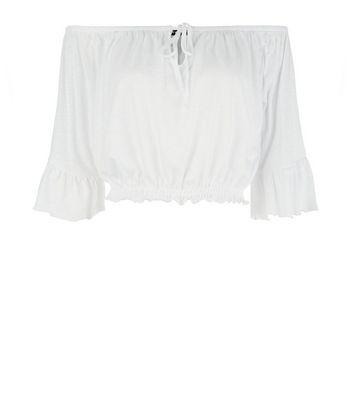 White Tie Up Bardot Neck Crop Top New Look