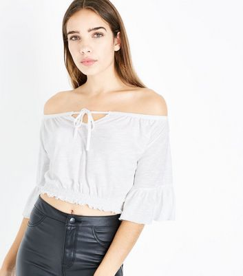 Cream Tie Up Bardot Neck Crop Top New Look