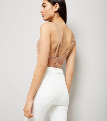 Nude Mesh Low Back Bodysuit New Look