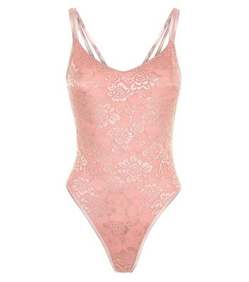 Pink Mesh Low Back Bodysuit New Look