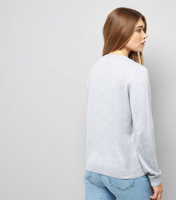 Pale Grey Dream Big Long Sleeve Jumper New Look