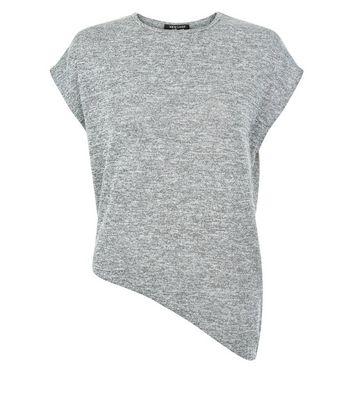 Teens Grey Marl Asymmetric Hem T-Shirt New Look