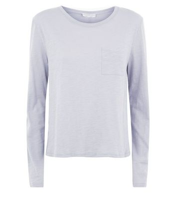 Pale Grey Organic Cotton Long Sleeve Pocket Front T-Shirt New Look