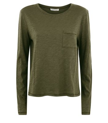 Olive Green Organic Cotton Long Sleeve Pocket Front T-Shirt New Look