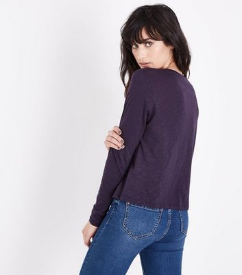 Navy Organic Cotton Long Sleeve Pocket Front T-Shirt New Look