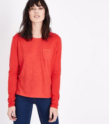 Red Organic Cotton Long Sleeve Pocket Front T-Shirt New Look