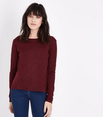 Burgundy Organic Cotton Long Sleeve Pocket Front T-Shirt New Look