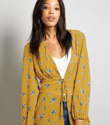 Tall Yellow Floral Print Lace Up Longline Kimono New Look