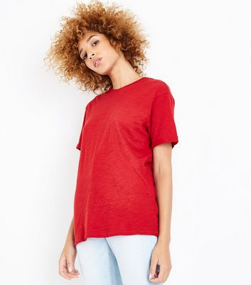 Red Organic Cotton Short Sleeve T-Shirt New Look