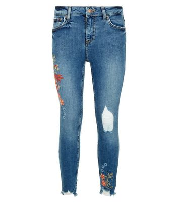 Petite Blue Ripped Floral Embroidered Skinny Jeans New Look