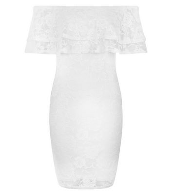 Cream Lace Bardot Neck Bodycon Dress New Look