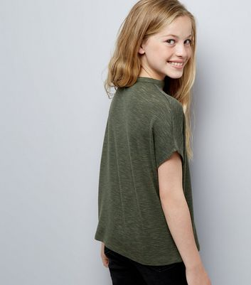 Teens Green Choker Neck T-Shirt New Look