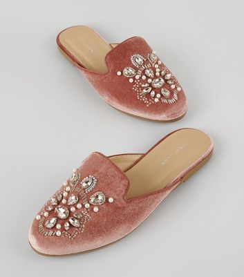 Pink Velvet Embellished Mules New Look