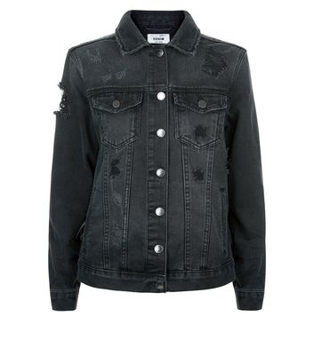 Teens Black Tapestry Back Denim Jacket New Look