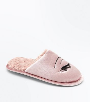 Pink Fluffy Eye Embroidered Mule Slippers New Look