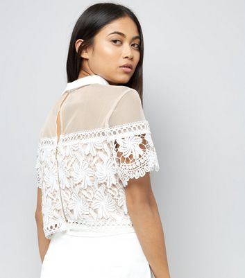Petite White Lace Collared Top New Look