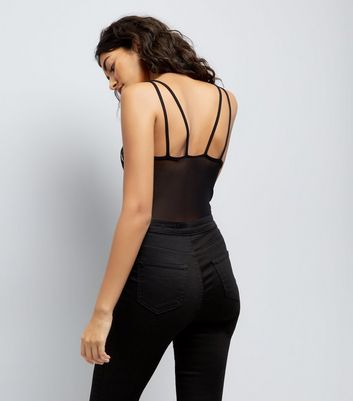 Black Floral Embroidered Mesh Strappy Bodysuit New Look