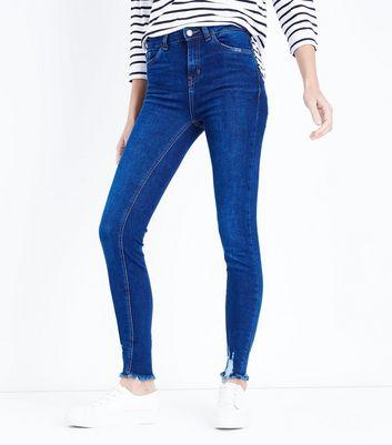Blue Rinse Wash Fray Hem Skinny Jenna Jeans New Look